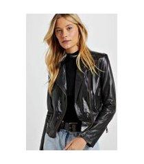 jaqueta de couro motor color preto - 44