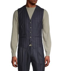 brunello cucinelli men's striped wool, silk & cashmere-blend vest - navy - size 50 (40)