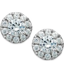 diamond halo stud earrings in 14k white gold (1/2 ct. t.w.)
