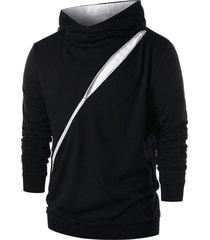 patchwork zip embellished hoodie