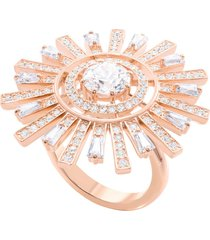 anillo de cóctel sunshine, blanco, baño de oro rosa