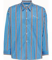 marni camicia in popeline bacchetato con ricamo