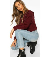 cord hooded cropped jacket, berry