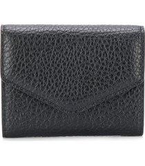 maison margiela textured wallet - black