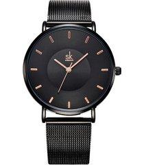 reloj mujer lujo ultra delgado elegante shengke 0059 negro