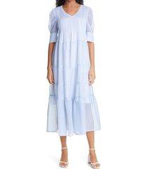 birgitte herskind silla check puff sleeve midi dress, size 8 us in light blue checks at nordstrom
