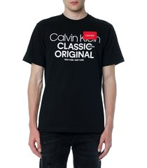 calvin klein black printed cotton t shirt