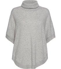 turtleneck round poncho turtleneck polotröja grå davida cashmere