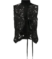 ann demeulemeester floral lace fitted vest - black