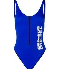 diesel x sea-doo zip front swimsuit - blue