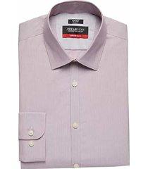 awearness kenneth cole men's awear-tech burgundy red stripe slim fit dress shirt - size: 17 36/37