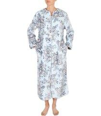miss elaine floral-print french fleece long zipper robe