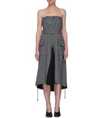 houndstooth print deconstructed trouser dress