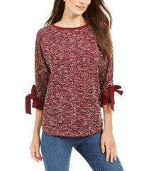 charter club 3/4-sleeve bow-trim top, created for macy's