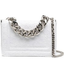 casadei lace-patterned glitter tote bag - white
