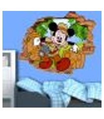 adesivo de parede buraco falso 3d mickey floresta - p 45x55cm