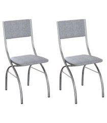 conjunto com 2 cadeiras dubbo cinza e cromado
