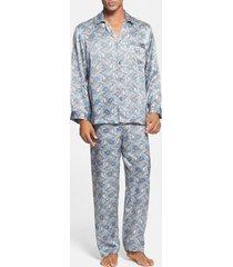 men's majestic international 'cypress' silk pajamas, size xx-large - blue