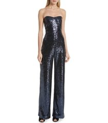 women's saloni faux feather trim satin backed crepe strapless jumpsuit, size 4 - blue