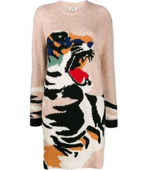 kenzo tiger intarsia knit jumper dress - neutrals