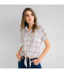 camisa estampada cuadros lazo en cintura-97102