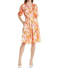 boss daesala belted floral print a-line dress, size 2 in orange at nordstrom