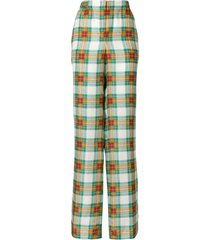 alberta ferretti plaid high-waist trousers - multicolour