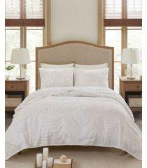 madison park bahari king/california king 3-pc. tufted cotton chenille palm coverlet set