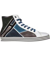 scarpe sneakers alte uomo in camoscio mosaico hi top