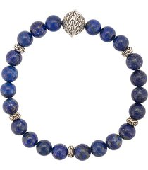 john hardy silver classic chain lapis lazuli round bead bracelet -