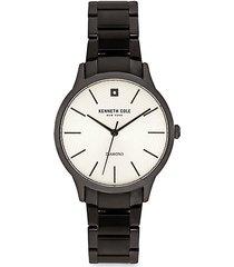 genuine diamond black stainless steel bracelet watch