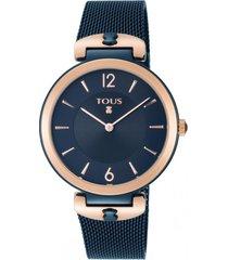 reloj s-mesh bicolor acero/ip azul rosa tous