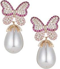 goldtone, crystal & glass pearl drop earrings