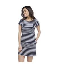 camisáo feminino curto stripe navy com bolso