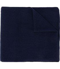 roberto collina fine knit cashmere scarf - blue