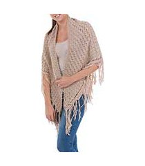 100% alpaca shawl, 'colonial beige' (peru)