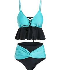 colorblock lace up twist tankini swimsuit