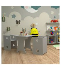 conjunto de mesa quadrada infantil com 2 bancos   banquetas kitcubos cinza