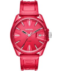 diesel unisex ms9 red transparent polyurethane strap watch 44mm