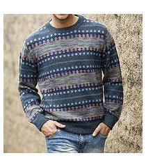 men's 100% alpaca sweater, 'cajamarca blues' (peru)