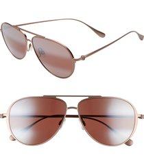 maui jim shallows polarizedplus2 59mm aviator sunglasses - satin brown/ red