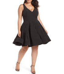 plus size women's mac duggal fit & flare party dress