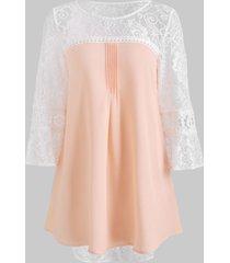 lace panel tunic chiffon blouse