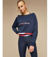 tommy hilfiger women's off-shoulder sweatshirt sport navy - l