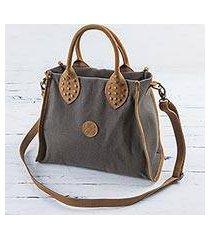 leather accent cotton shoulder bag, 'brown mushroom' (peru)