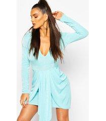 textured slinky drape mini bodycon dress, aqua