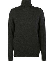 brunello cucinelli bead applique turtleneck sweater