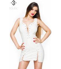 * soleil by xxx collection witte leren jurk met vetersluitingen