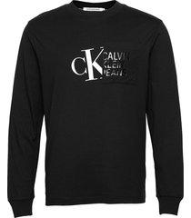 hybrid pocket l/s tee sweat-shirt tröja svart calvin klein jeans