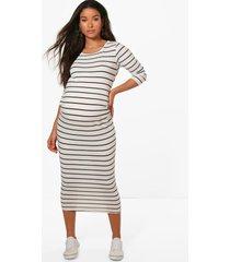 maternity striped 3/4 sleeved midi dress, black